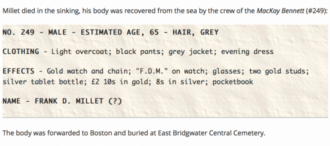 Francis Davis Millet Titanic Victim
