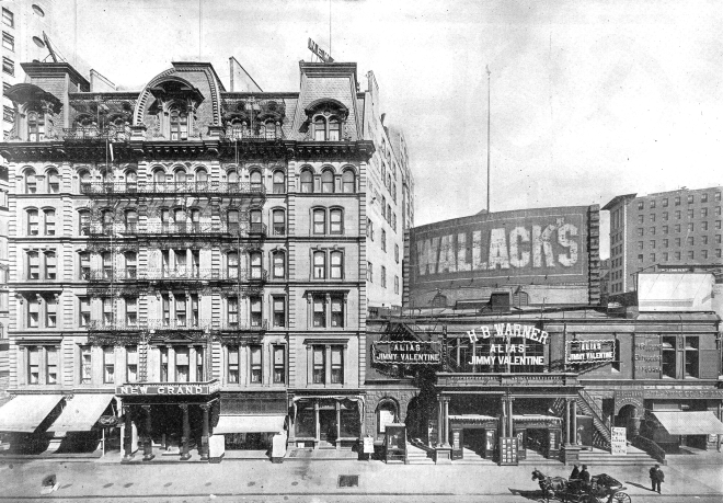 Seen in 1910, the hotel where Wilde wrote the note, and the theatre where he lecture the same day. The hotel is extant at Broadway and 31st Street.