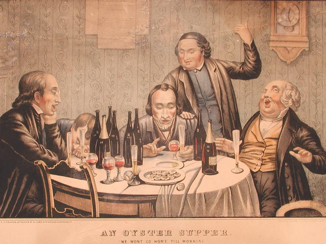 An Oyster Supper, 1852-1853. Hand-colored lithograph by Elijah Chapman Kellogg . Oysters were a popular food in Connecticut during the 19th century..jpg